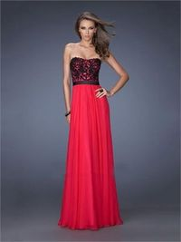 A-line red strapless sweetheart beaded floor length chiffon Prom Dress