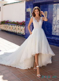 V neckline lace high-low #weddingdress
