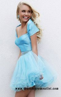 Sherri Hill 21192 Light Blue Sequined Layered Tulle Strapless Party Dress On Sale