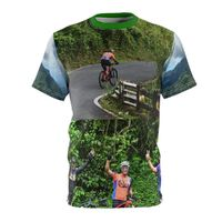 Unisex AOP Cut & Sew Tee - Three brave cyclists went up to Rio Sabana Park, rainforest and logo on back $30