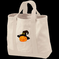 Jolly Jack-O-Lantern Tote, shopping tote, tote, shopping bag, samhain, reusable bag, Halloween, embroidered, canvas tote, canvas bag, wicca $29.45