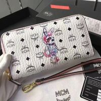 MCM Rabbit Visetos Leather Long Wallet In White