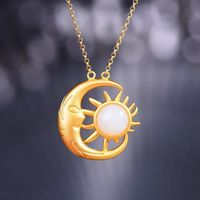Sun Moon Necklace - Layering Necklace, Boho Necklace, Celestial Jewelry, Pendant Necklace, Gold Necklace, Jewelry Gift, Good Luck Charm