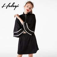 Oversized Vogue Split Solid Color Flare Sleeves High Neck Zipper Up Fall Dress - Bonny YZOZO Boutique Store
