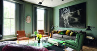 green walls and sofa