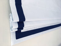 """Flat Roman Shade """"Cheval White with Navy Border"""", linen roman shade with chain mechanism, custom made, window treatments $255.00"""