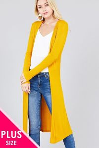 Ladies fashion plus size long sleeve open front side slit long length rayon spandex rib cardigan $22.50 (20% off with CODE: BESTDEAL)