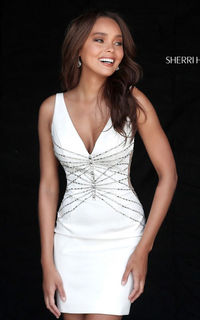 WHITE SHERRI HILL 51440 CREPE FITTED HOMECOMING DRESS SALE