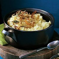 Cut the parsnips smaller than the potatoes so they will finish cooking at the same time. Also, because the parsnip pieces are small, they're easier to mash.