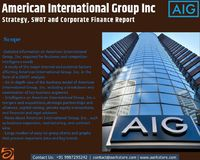 New report on American International Group Inc is a SWOT and Corporate Finance Report which offers comprehensive company data and information. The report covers the companys structure, operation with further information on product and service offerings an...