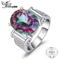 Huge 11ct Genuine Rainbow Fire Mystic Topaz Solid 925 Sterling Silver Ring Brand New Vintage $49.94