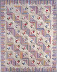 """Spring Valley Log Cabin quilt - Piece 'n' Play Quilts, 2002. Designed and pieced by Judy Martin. Quilted by Jean Nolte. 74"""" x 94""""."""