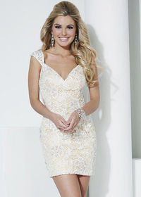 Perfect Short V-Neck Cap Sleeves Ivory Nude Lace Flare Homecoming Dress