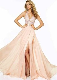Mori Lee 97018 Blush Party Dress Fabric: Chiffon, Lace. Colors: Aqua, Blush, Mango. Halter v neckline. Features a lace patterened bodice along with lacey straps. Beaded lace top. Open back with a waist line belt.