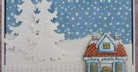 Snowy House stamp by Hero Arts. Tree die from Marianne run through the Big Shot with the snow flurries embossing folder.