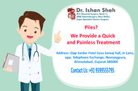 Dr. Ishan Shah is one of the best Piles Doctor in Ahmedabad. They serve best services by ensuring our good health and caring for us. Performs all type of Advance Chronic Piles Surgery in Gujarat, Madhya Pradesh, Rajasthan, India. Book an appointment with ...