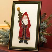 Needle Punch Santa Art Use our free pattern and a purchased needle punching kit (from a crafts store) to create this classic portrait of Father Christmas. Feature the handcrafted decor on your fireplace mantel or in your home's entryway for a ...