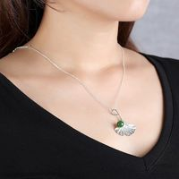 Jasper beads necklace-Ginkgo Leaf pendant-silver ginkgo-silver leaf necklace-ginkgo pendant-long necklace silver-leaf charm necklace