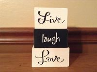 Black and White Live Laugh Love Home Decor, Rustic, Distressed, Shabby Chic Stacked Wooden Blocks, Home Accessories, Home Accents $14.00