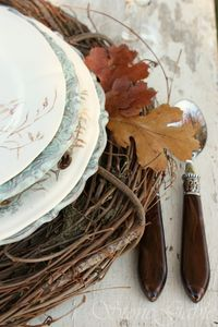 Fall table setting with vine wreaths. Love this idea!