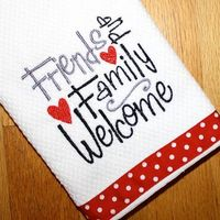 Embroidered Gift Kitchen Dish Towel White Red Black Polka Dot. Friends & Family Welcome.