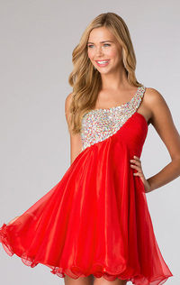 One Shoulder Red Homecoming Dress