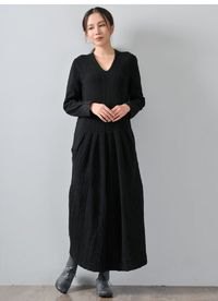 Black Cotton & Wool Blend Dress-V-neck Long Sleeve Dress-Knitted Spliced Dress Mother's Day Gift-Cotton Dress with Pocket
