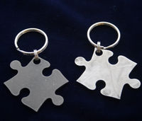 Stainless Steel Puzzle Piece Keychain $12.99