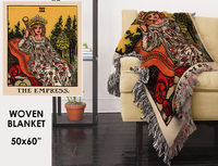 Woven Blanket - The Empress Tarot Card - Rider Waite Deck - Cotton- 50 x 60 inches $90.00
