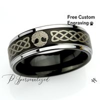 Personalized Ring Custom Engraving Promise Ring For Men Women, Celtic Knot Tree Of Life Inspiration Ring 8mm Black Tungsten Shiny Edges $108.00