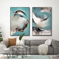 Set of 2 wall art Ymipainting teal blue black 2 piece wall art seascape framed painting abstract paintings on canvas texture painting $249.00
