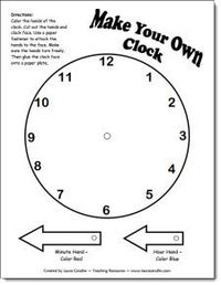 Make Your Own Clock Pattern. make some on card stock to re-use..... Have cards with analog time on one side, they try to make it with this clock and then check their answer on the back of card.