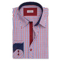 Create a stylish look with this Oxford Men red and white Check shirt. Woven in Egyptian cotton & polyster. this check shirt has a fine finish.