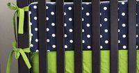 Custom Crib Bedding - Lime Green Chevron, Navy Blue Polka Dot and Grey Baby Stripe Bedding