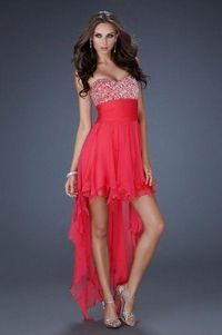 Red High Low Sequin Top Strapless Prom Dress
