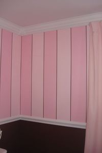 pink striped walls | Faith's Dream Room, Pink stripe walls white furniture makes this room ...