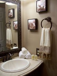 Neutral Guest Bathroom, This guest bathroom was basically rebuilt from the ground up. Before this it was filled with a Harvest Gold color tub sink and even floor tiles. Oh and there was even a ton of tiny flower country wallpaper. All comments and opinion...