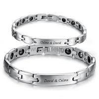Engraved Magnetic Couple Bracelets Set Anniversary Gift https://www.gullei.com/engravable-magnetic-affordable-couples-health-bracelet-set-for-2.html