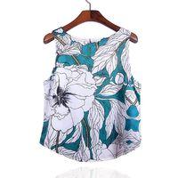 Women Blouse Green Floral Printed Sleeveless Loose Casual Crop Tank Shirt Tee Plus Size Top $24.28