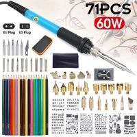 71Pcs 60W Adjustable Temperature Electric Soldering Pyrography Iron Set Welding Solder Station Heat Pencil Repair Tools Kit Woodwork