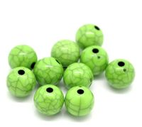 Pack of 100 Round Light Green Beads. 10mm Grey Pattern Spacers for Jewellery Making £6.19