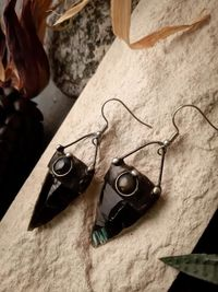 Black Earrings from hypoallergenic medical steel and Natural Stone- Obsidian and Falcon Eye, Arrowhead form, Witchcraft Jewelry $60.00