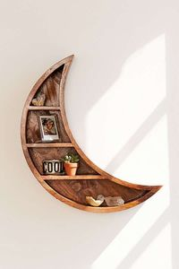 Slide View: 1: Crescent Moon Wall Shelf - Book Storage / Home Accessories