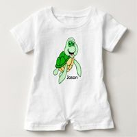 Personalized Speedy Turtle Apparel Baby Romper