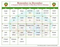"Christmas Calendar: Remember in December Scriptures 365 has created this Christmas scripture calendar that suggests a specific verse to read each day throughout the month of December to help keep us focused on Jesus Christ�€""the reason for the..."