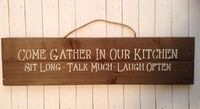 Rustic Farmhouse Chic Wood Pallet Sign, Kitchen Wall Decor, Come Gather In Our Kitchen Sit Long Talk Much Laugh Often Home Decor For Kitchen $18.00