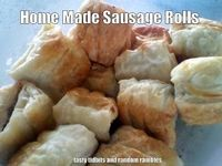 Home Made Sausage Rolls - using only sausage meat, onion and herbs in pastry