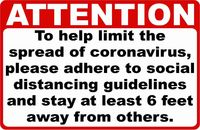 Attention Coronavirus Social Distancing Sign $16.99
