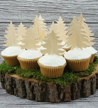 Birch Forest Cupcake Toppers.
