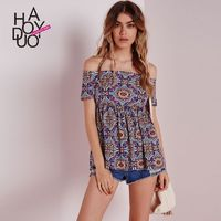 Vintage printed summer 2017 new folds a swing jacket sexy neck t shirt - Bonny YZOZO Boutique Store